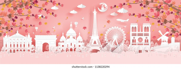 Panorama view of top world famous landmark for travel poster and postcard, Autumn season with falling leaves in Paris, France in paper origami style vector illustration.