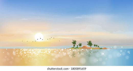 Panorama view Tropical seascape of blue ocean and coconut palm tree on island,Panoramic Sea beach with pink and blue sky,Vector illustration beautiful nature of landscape seaside in morning on summer