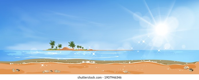 Panorama view Tropical seascape of blue ocean and coconut palm tree on island, ,Panoramic Sea beach and sand with blue sky,Vector illustration flat style nature of landscape seaside for Summer holiday