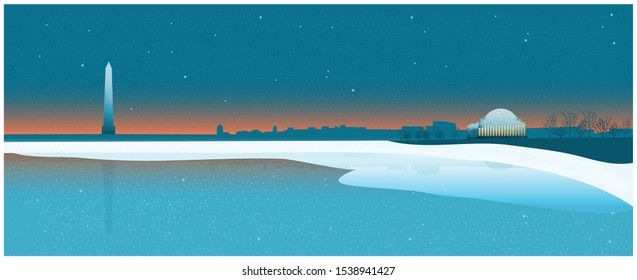 Panorama view of winter of National mall USA Washington DC monument with twilight or night sky,Vector winter landscape, Panoramic city dusk landscape of USA famous skyline panoramic.
