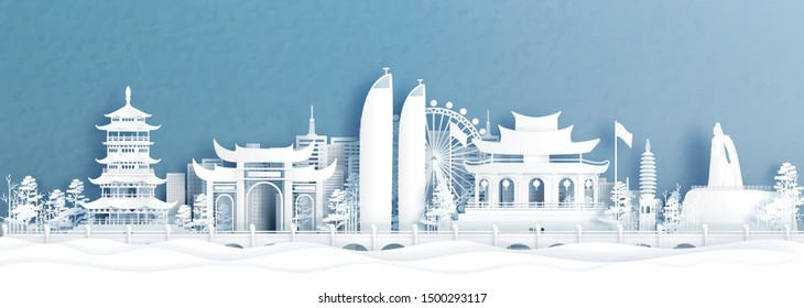 Panorama view of Xiamen skyline with world famous landmarks of China in paper cut style vector illustration.