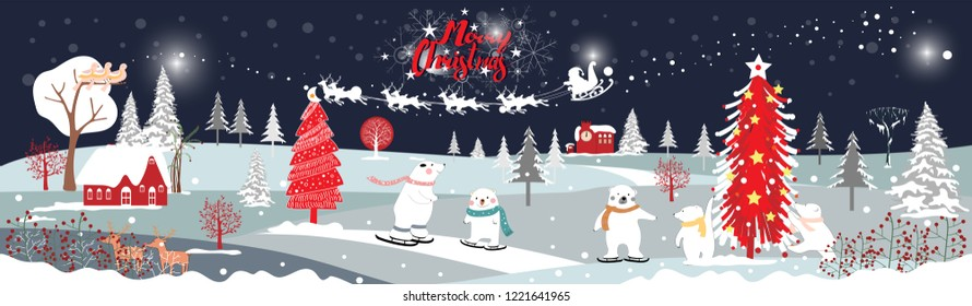 Panorama of winter landscape with snow,Vector of horizontal banner of winter wonderland with cute polar bear family looking up at Santa Claus and Reindeers in sky,Merry Christmas and Happy New year