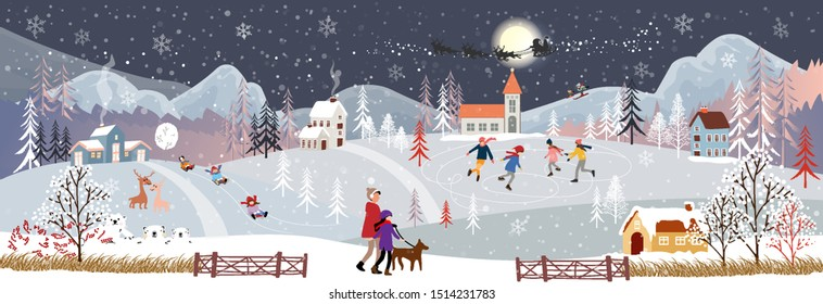 Panorama Winter night, Christmas and new year celebrating in village with happy kids sledding boy and girl playing ice skates in the winter park, teenagers skiing on the hill