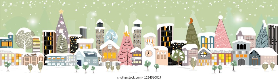 Panorama Winter night landscape, Christmas and new year,Modern city scape buildings,Vector flat illustration of winter night city landscape,Concept for greeting card, invitation, banner, template