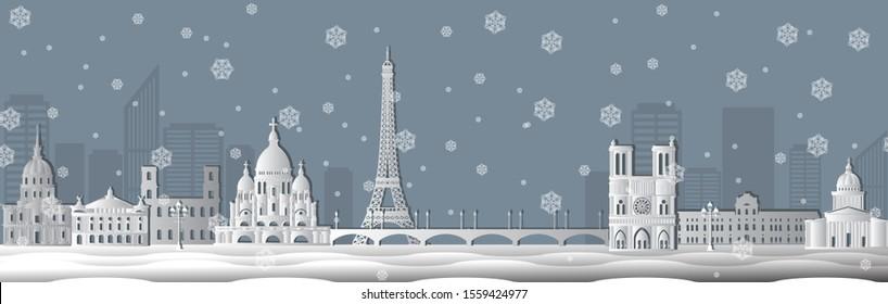 Panorama of winter Paris paper cut vector illustration. Cartoon Paris architecture symbols and objects. Paris city skyline vector background. Flat trendy illustration