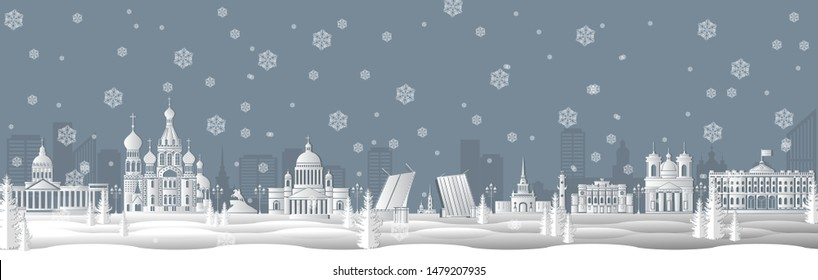 Panorama of winter Saint Petersburg paper art style vector illustration. Petersburg architecture. Panorama travel poster of top world famous symbol of Russia in paper cut style vector illustration.