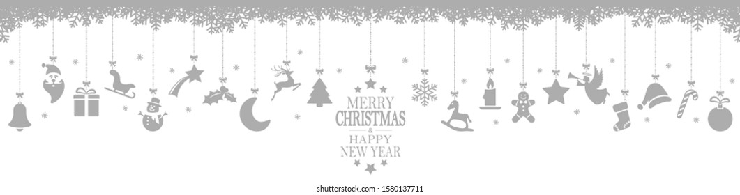 panorama xmas concept with different hanging abstract icons for christmas and wintertime colored gray, snow flakes on top side and greetings for christmas and New Year