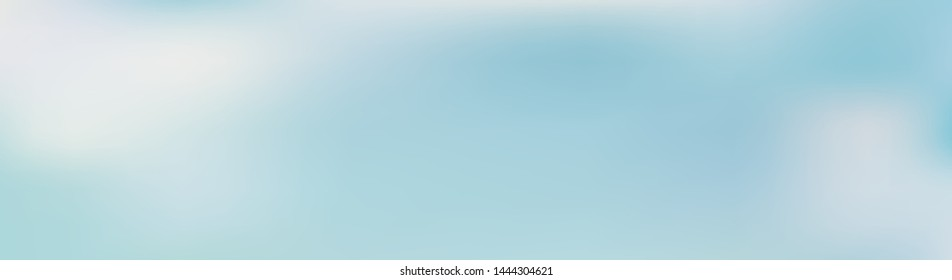 Panoramic abstract green, blue and white blurred gradient background. Horizontal view for a glass panels - skinali. Trendy modern nature backdrop. Ecology concept for your graphic design.
