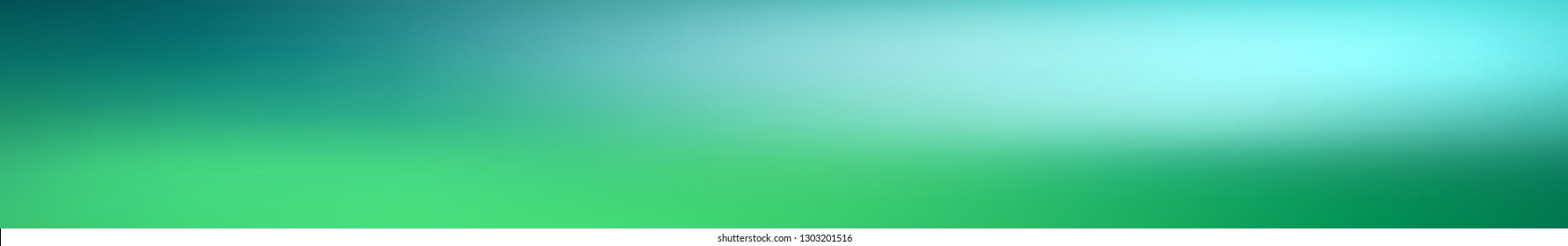 Panoramic abstract green blurred gradient background.  Horizontal view for a glass panels - skinali. Trendy modern nature backdrop. Ecology concept for your graphic design.