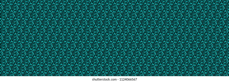Panoramic Abstract Turquoise Geometric Pattern with Stripes. Optical Rhombic Psychedelic Illusion. Wicker Structural Texture. Vector Illustration