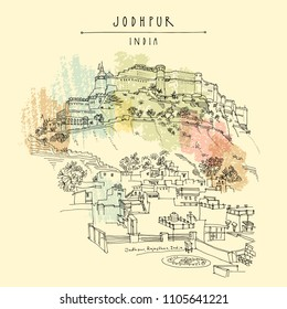 Panoramic aerial view of Jodhpur Blue City and Mehrangarh fort on a hill. Jodhpur, Rajasthan, India. Artistic travel sketch. Hand drawn postcard, poster, book illustration in vector