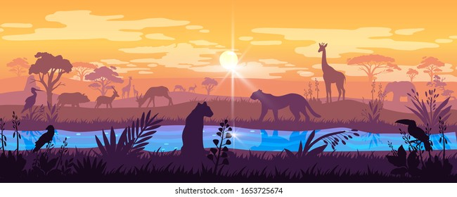 Panoramic African landscape with savannah, river,wild tropical animals, trees and plants. Horizontal prairie banner with sunrise, orange sky and hunting predators. Wildlife background in trendy colors
