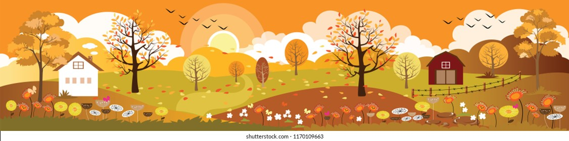 Panoramic of autumn landscape in sunny day,Vector landscape of the End of summer and the beginning of autumn,Beautiful view countryside of farm field with mountains and leaves fallen on grass,