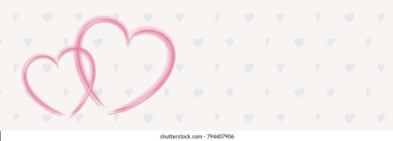 Panoramic banner with hand drawn hearts for Valentine's Day, Women's Day and Mother's Day. Vector.