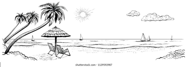 Panoramic beach view. Vector illustration of seaside promenade with palms, two chairs, umbrella and yachts. Black and white hand drawn sketch.