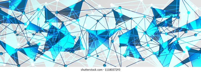 Panoramic Blue and White Geometric Pattern with Triangles. A Three-Dimensional Futuristic Structure. Wicker Abstract Texture. Vector. 3D Illustration