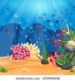 Panoramic bright seascape. Underwater world with coral reef and silhouette of fish against the background of the blue sea. Vector illustration