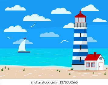 Panoramic calm sea landscape: blue ocean, clouds, sand coastline with grass, gull, sailboat, lighthouse. Vector illustration of seascape background in flat cartoon style. Summer beach backdrop banner.