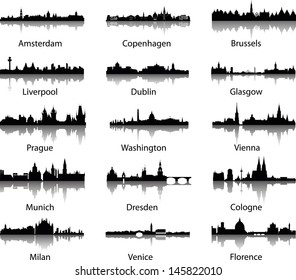panoramic city skylines with water reflects