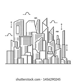 Panoramic city thin line style. Illustration of urban landscape roads, skyline city office buildings, with a backdrop of light. Outline of cityscape. Wide horizontal panoramas. Vector illustration