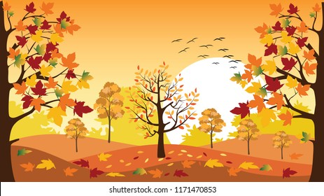 Panoramic of Countryside landscape in autumn with fallen leaves on the grass, Vector illustration of horizontal banner of autumn landscape mountains and maple trees with yellow foliage in fall season.