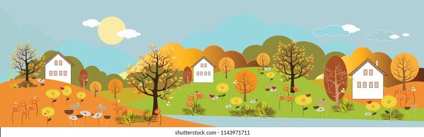 Panoramic of Countryside landscape in autumn, Vector illustration of horizontal banner of autumn landscape mountains and trees with yellow foliage.
