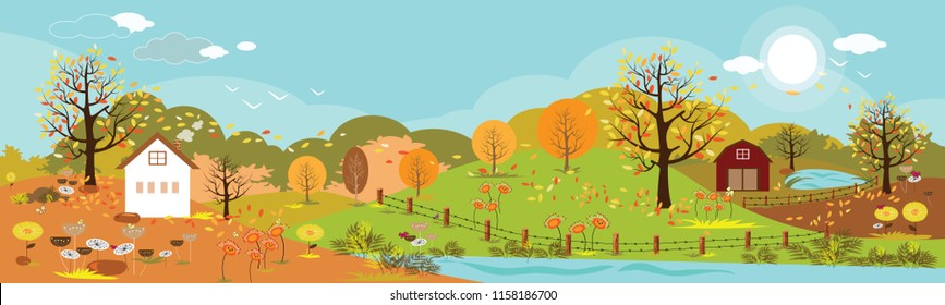 Panoramic of Countryside landscape in autumn, Vector illustration of horizontal banner of autumn landscape mountains and farm with leaves falling from trees in yellow foliage.