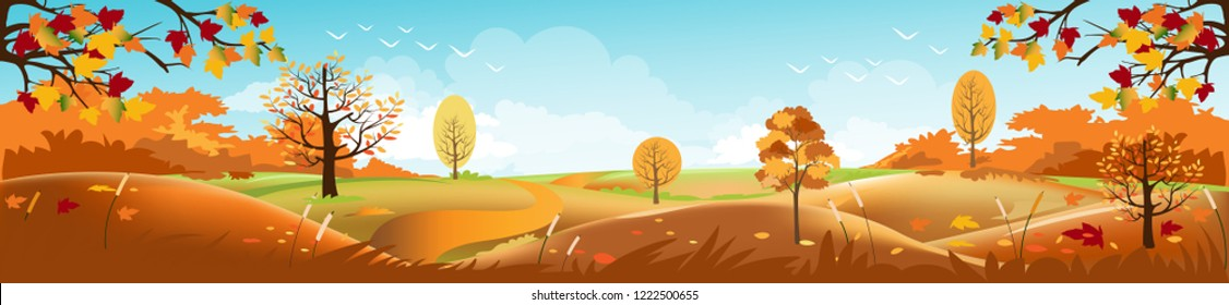 Panoramic of Countryside landscape in autumn, Vector illustration of horizontal banner of autumn landscape mountains and maple trees fallen with yellow foliage,Panorama autumn with blue sky and cloud