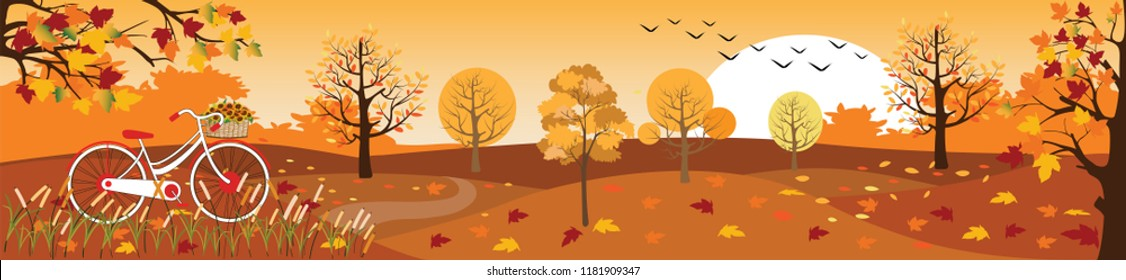 Panoramic of Countryside landscape in autumn,Vector illustration of horizontal banner of autumn landscape mountains,maple trees with leaves falling and bicycle in yellow foliage,Fall season background