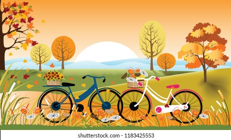 Panoramic of Countryside landscape in autumn,Vector illustration of horizontal banner of autumn landscape mountains,maple trees with leaves falling and lover bicycles,Fall season background