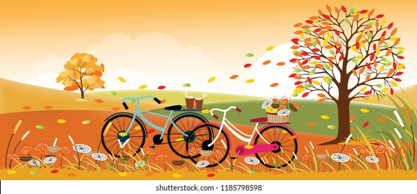 Panoramic of Countryside landscape in autumn,Vector illustration of autumn landscape back ground with mountain, leaves falling, bicycles lover and two cup of coffee,Fall season in yellow foliage