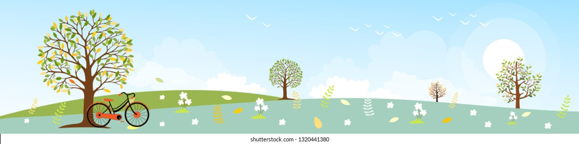 Panoramic of Countryside landscape in spring or Summer, Vector illustration of horizontal banner of Spring landscape with mountains and trees with leaves falling on grass with green pastel foliage.