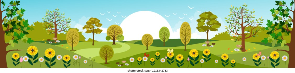 Panoramic of Countryside landscape in Spring, Vector illustration of horizontal banner of Summer landscape mountains with green field and summer flowers