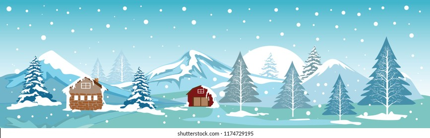 Panoramic of Countryside landscape in Winter,Vector illustration of horizontal banner of winter landscape field of mountains and farm with snow covering on trees,Merry Christmas landscape background