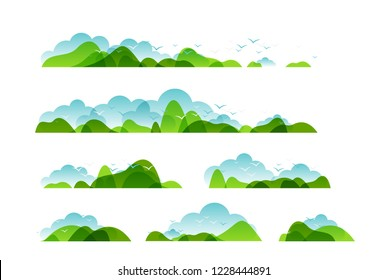 Panoramic of countryside landscapes collection, Horizontal borders of summer or spring landscape with clouds, mountains, hills and flying birds.