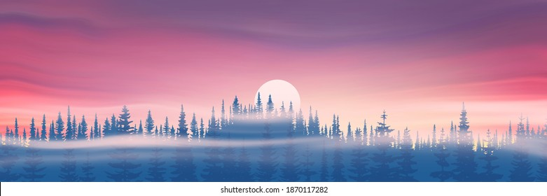 Panoramic evening view. The sun sets behind the trees. Vector illustration.