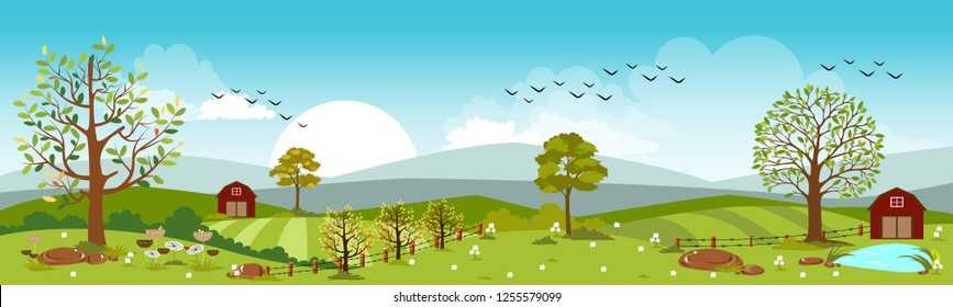 Panoramic of farm with Spring field in sunny day,Vector landscape of spring or summer with blue sky,Beautiful natural landscape of green field with summer flowers, vector illustration
