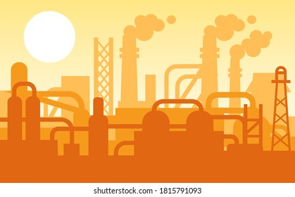 Panoramic industrial silhouette landscape. Evening view of city with factory buildings, pipeline, factories, industrial zone area. Oil refinery with pipe system and silhouettes of buildings vector