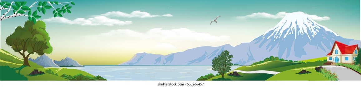 Panoramic landscape - cottage by the sea. Sea views from the hills. The trees on the hill. Wildlife. The mountains on the horizon. Vector illustration