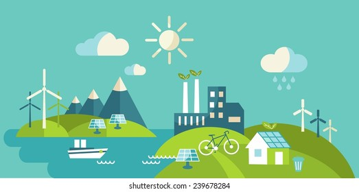 Panoramic landscape with ecology concept. Landscape with buildings, transport and nature ecology elements in flat style