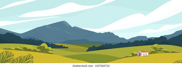 Panoramic landscape with meadows and mountains. House in rural area vector illustration. Scenic outdoor nature view with cottage in countryside. Idyll country life. Green hills, blue sky