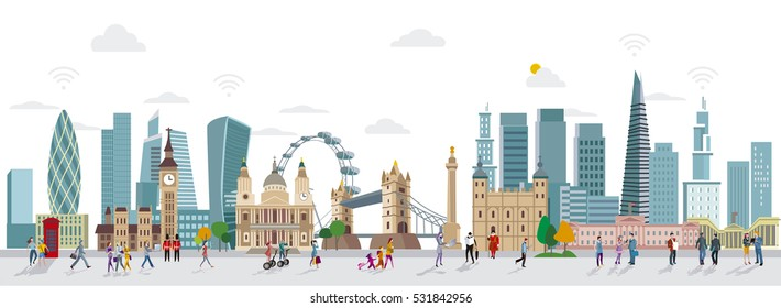 Panoramic of London Skyline and People Walking. City of London one of the leading center of global finance. Urban scene with people walking.