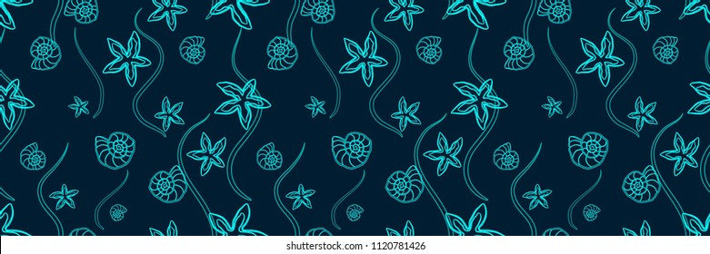Panoramic Marine Pattern with Starfishes and Seashells. Turquoise Contour Silhouettes Isolated on a Dark Background.  Poster for Print in a Flat Style. Vector Illustration