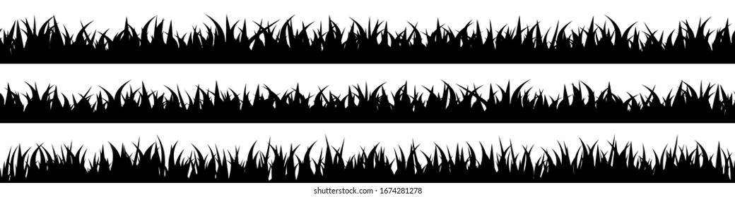 Panoramic seamless grass silhouette for footer and design