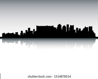 Panoramic Silhouette Skyline of Cape Town South Africa