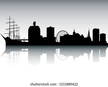 Panoramic Silhouette Skyline of Gothenburg Sweden