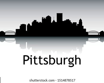 Panoramic Silhouette Skyline of Pittsburgh Pennsylvania