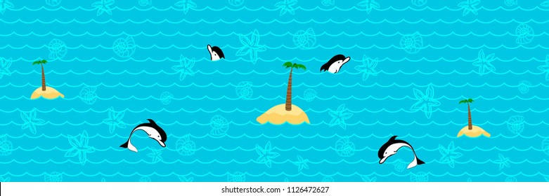 Panoramic Summery Pattern with the Waves, Islands, Starfishes. Dolphins and Seashells. Turquoise Contour Silhouettes Isolated on the Marine Background.  Poster for Print in a Flat Style. Vector