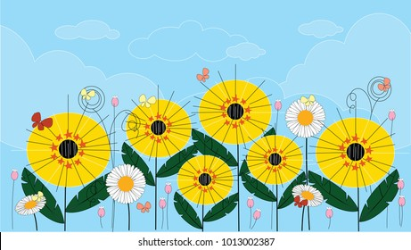Panoramic of Sunflower field with blue sky in the spring or summer, Vector of Beautiful natural landscape of green field with summer flowers and butterfly, vector illustration
