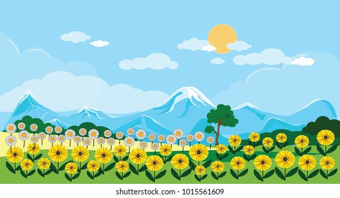 Panoramic of Sunflower field with blue sky in the spring or summer, Vector of Beautiful natural landscape of green field with summer flowers, vector illustration